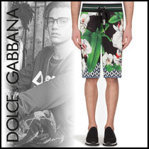 Dolce & Gabbana Flower Patterns Street Style Cotton Joggers Shorts