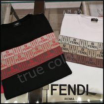 FENDI Crew Neck Pullovers Street Style Cotton Short Sleeves