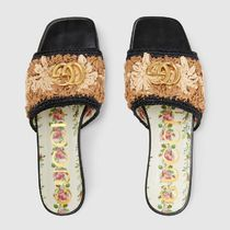 GUCCI Flower Patterns Blended Fabrics Leather Handmade