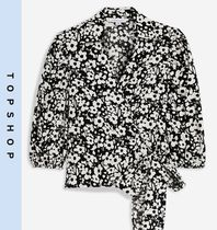 TOPSHOP Flower Patterns Casual Style Puffed Sleeves Shirts & Blouses