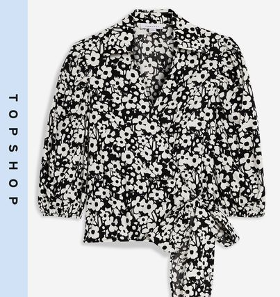 Flower Patterns Casual Style Puffed Sleeves Shirts & Blouses