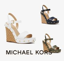 Michael Kors Open Toe Blended Fabrics Plain Leather Elegant Style