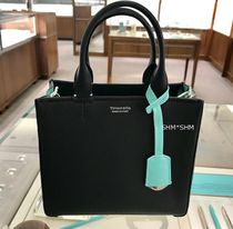 Tiffany & Co Street Style 2WAY Bi-color Plain Leather Elegant Style Totes