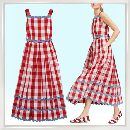 Gingham Casual Style Sleeveless Flared Cotton Dresses