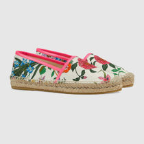 GUCCI Flower Patterns Platform Casual Style Lace-Up Shoes