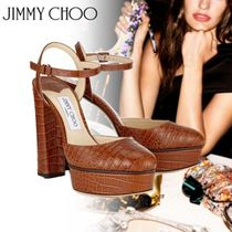 Jimmy Choo Platform Round Toe Other Animal Patterns Leather