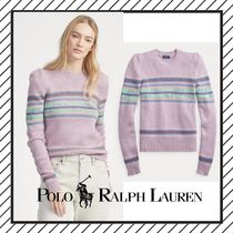 POLO RALPH LAUREN Crew Neck Cable Knit Stripes Casual Style Wool