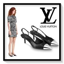 Louis Vuitton Plain Toe Blended Fabrics Plain Leather Pin Heels