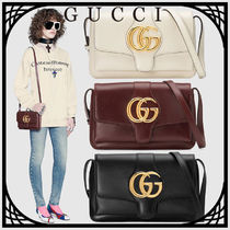 GUCCI Arli Casual Style Unisex Blended Fabrics Studded Leather