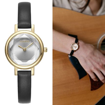 Casual Style Blended Fabrics Round Quartz Watches Stainless