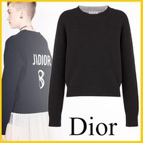 Christian Dior Casual Style Cashmere Long Sleeves Plain Medium Cashmere