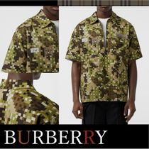 Burberry Camouflage Street Style Cotton Short Sleeves Shirts
