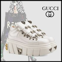 GUCCI Rubber Sole Casual Style Studded Leather Low-Top Sneakers