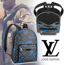 Louis Vuitton DAMIER GRAPHITE Other Check Patterns Canvas Blended Fabrics 2WAY Backpacks
