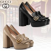GUCCI GG Marmont Round Toe Chain Leather Block Heels Elegant Style