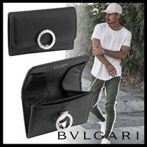 Bvlgari Plain Leather Folding Wallets