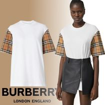 Burberry Crew Neck Other Check Patterns Cotton Short Sleeves T-Shirts
