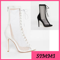 SIMMI Open Toe Lace-up Suede Pin Heels Lace-up Boots
