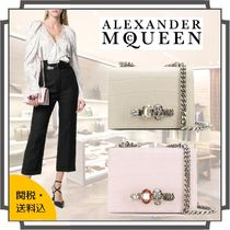 alexander mcqueen 2WAY Chain Plain Leather With Jewels Elegant Style