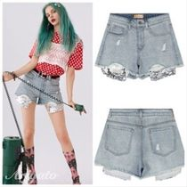 ELF SACK Short Casual Style Denim Street Style Plain With Jewels