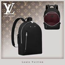 Louis Vuitton TAURILLON Blended Fabrics Studded A4 Plain Leather Backpacks