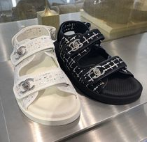 CHANEL Casual Style Plain Leather Sport Sandals Flat Sandals
