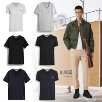 Burberry V-Neck Cotton Short Sleeves V-Neck T-Shirts