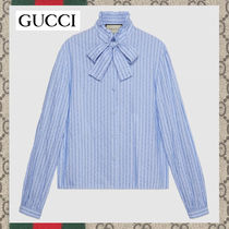 GUCCI Stripes Long Sleeves Cotton Medium Oversized Elegant Style