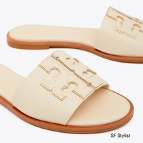 Tory Burch Open Toe Rubber Sole Casual Style Blended Fabrics Plain
