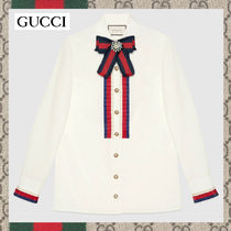 GUCCI Long Sleeves Cotton Medium Elegant Style Shirts & Blouses