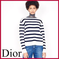 Christian Dior Stripes Casual Style Cashmere Long Sleeves Medium Cashmere
