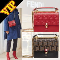 FENDI KAN I Monogram 2WAY Leather Elegant Style Shoulder Bags