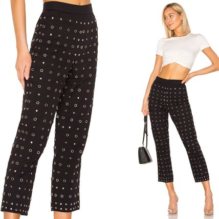 Studded Plain Cotton Medium Pants