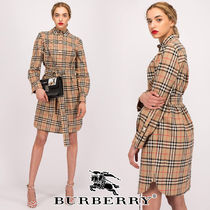 Burberry Short Tartan Casual Style Street Style V-Neck Long Sleeves