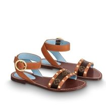 Louis Vuitton Monogram Round Toe Street Style Leather Sandals