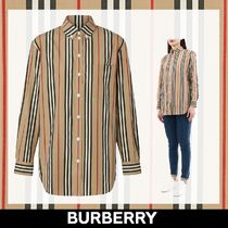 Burberry Stripes Long Sleeves Cotton Medium Shirts & Blouses