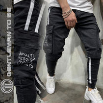 Gentleman To Be Stripes Street Style Cotton Cargo Pants