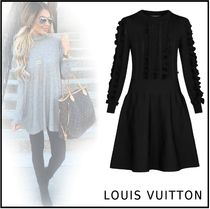 Louis Vuitton 2019-20AW RUFFLE STRIPE DRESS black XS-XL dress