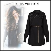 Louis Vuitton Monogram Silk Long Sleeves Elegant Style Dresses