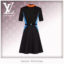Louis Vuitton Bi-color Short Sleeves Dresses