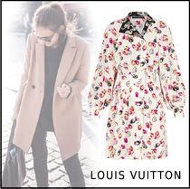 Louis Vuitton Silk Long Sleeves Elegant Style Dresses