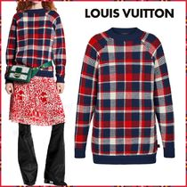 Louis Vuitton Crew Neck Other Check Patterns Wool Blended Fabrics