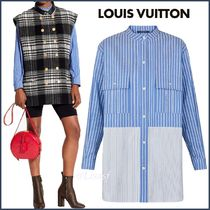 Louis Vuitton Stripes Blended Fabrics Bi-color Long Sleeves Cotton Long