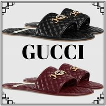 GUCCI Street Style Plain Leather Shower Shoes Shower Sandals