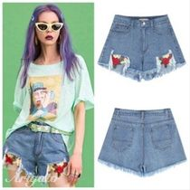 ELF SACK Short Flower Patterns Casual Style Denim Street Style Plain
