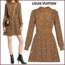 Louis Vuitton MONOGRAM Short Monogram Silk Blended Fabrics Bi-color Long Sleeves