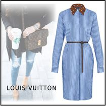 Louis Vuitton 2019-20AW MONOGRAM STRIPE SHIRT DRESS blue 34-42 dress