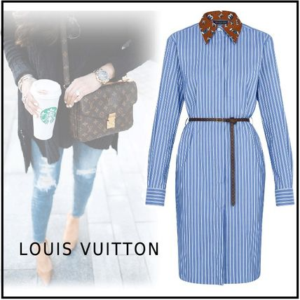 2019-20AW MONOGRAM STRIPE SHIRT DRESS blue 34-42 dress