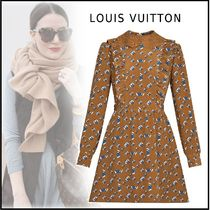 Louis Vuitton 2019-20AW MONOGRAM LONG SLEEVED DRESS brown 34-40