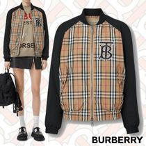 Burberry Tartan Monogram Street Style Medium Varsity Jackets
